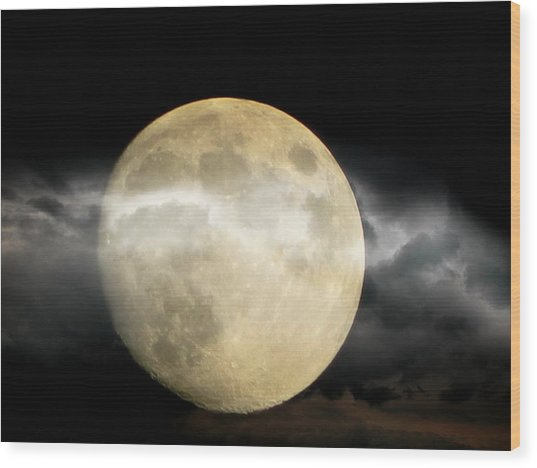 Moon In The Fog Wood Print by Michelle Frizzell-Thompson
