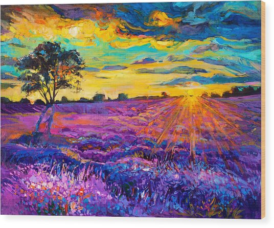 Lavender Field Wood Print by Ivailo Nikolov