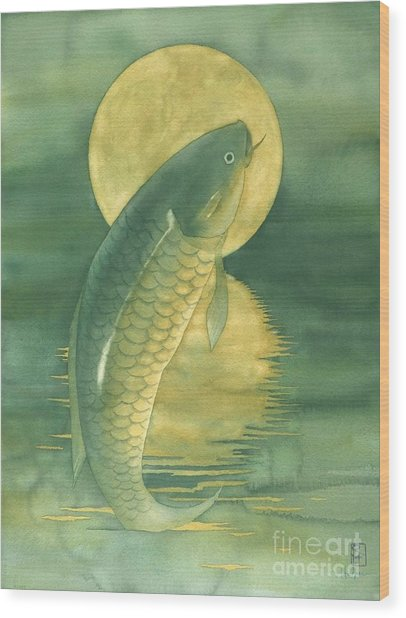 Moon Koi Wood Print