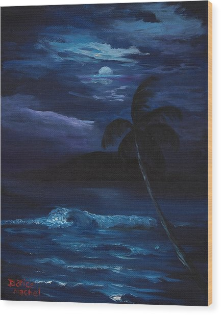 Moon Light Tropics Wood Print