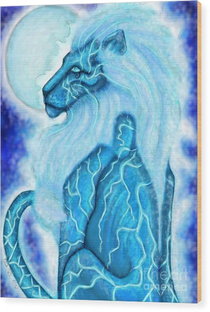 Moon Lion Wood Print by Coriander  Shea