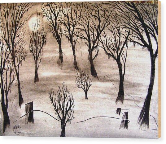 Moon Lit Fog Wood Print