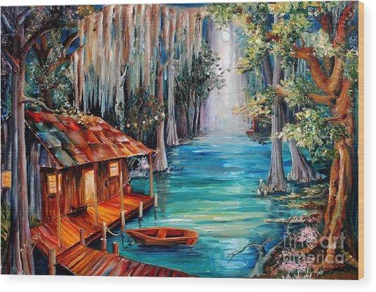 Moon On The Bayou Wood Print