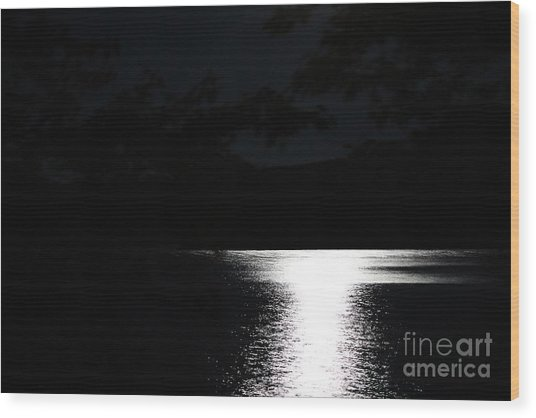Moon On Waterton Lake Wood Print
