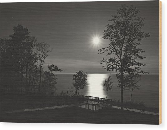 Moon Over Lake Michigan In  Black And White Wood Print