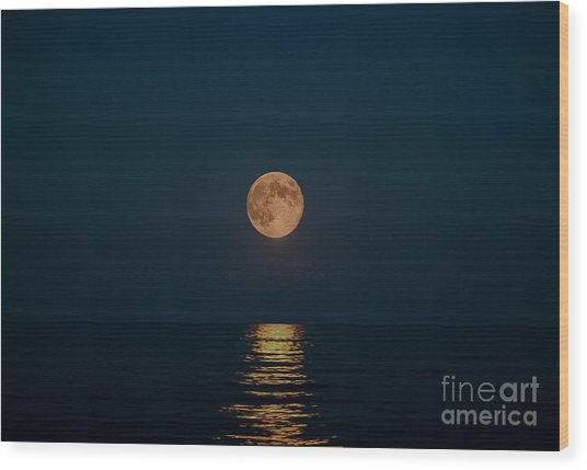 Moon Over Lake Of Shining Waters Wood Print