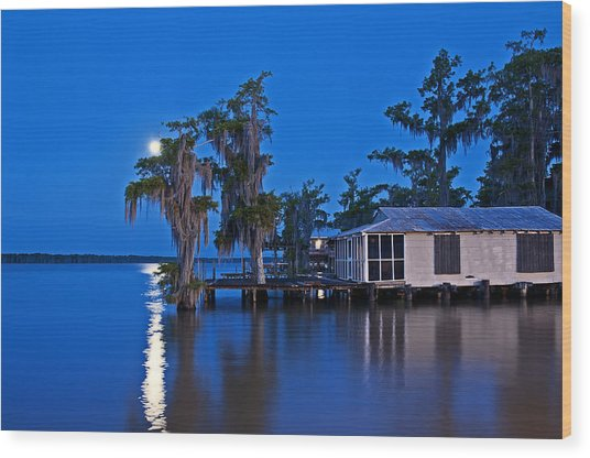 Moon Over Lake Verret Wood Print