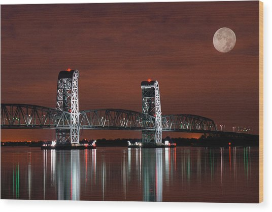 Moon Over Marine Parkway Bridge - Gil Hodges Memorial Bridge Wood Print