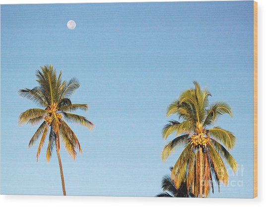 Moon Over Molokai Wood Print