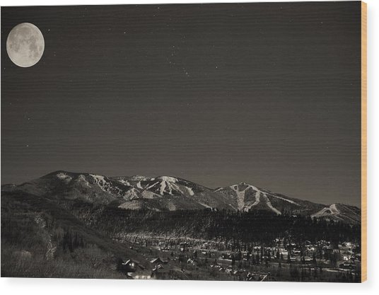 Moon Over Mt. Werner Wood Print