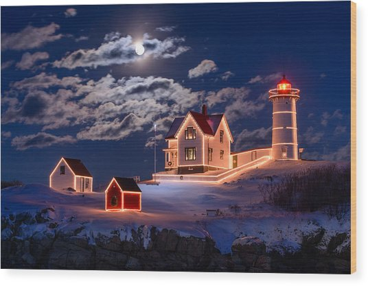 Moon Over Nubble Wood Print
