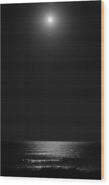 Moon Over Ocean Wood Print