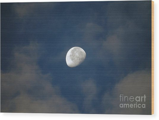 Moon Over Philadelphia Wood Print