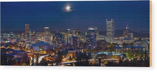 Moon Over Portland Oregon City Skyline At Blue Hour Wood Print
