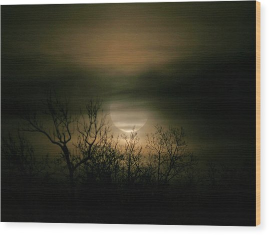Moon Over Prince George Wood Print