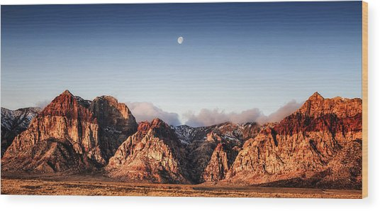 Moon Over Red Rock Canyon Wood Print