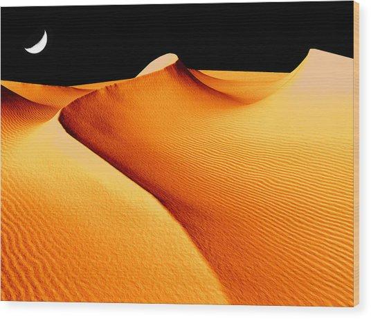 Moon Over Sand Dunes Wood Print