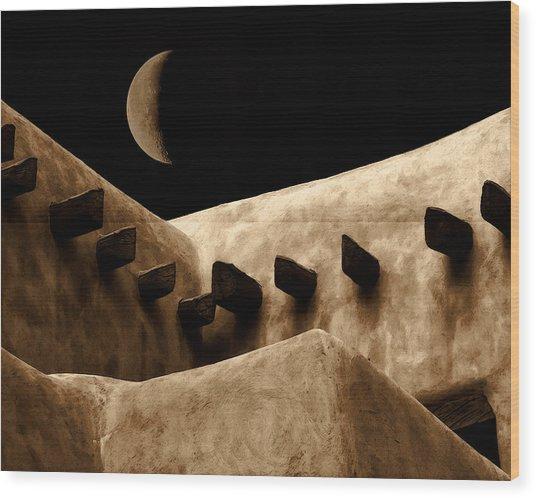 Moon Over Santa Fe Wood Print