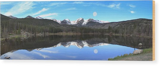 Moon Over Sprague Lake Wood Print