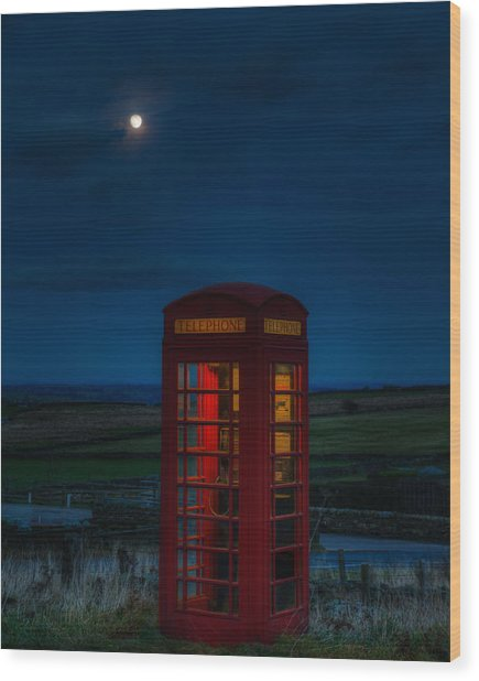 Moon Over Telephone Booth Wood Print