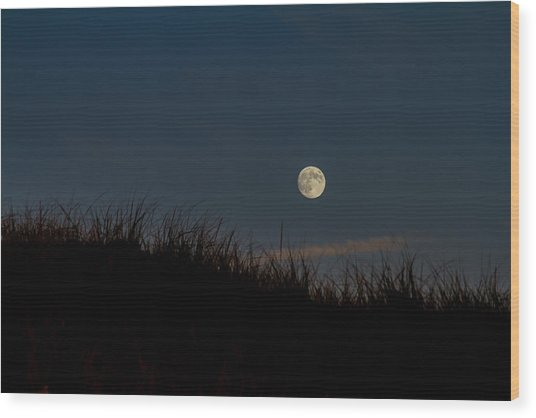 Moon Over The Dunes Wood Print