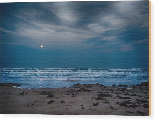Moon Over The Gulf Wood Print by Tammy Smith