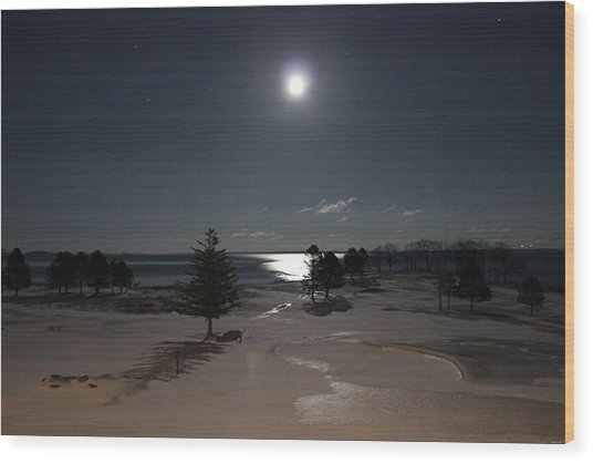 Moon Over The Samoset Wood Print
