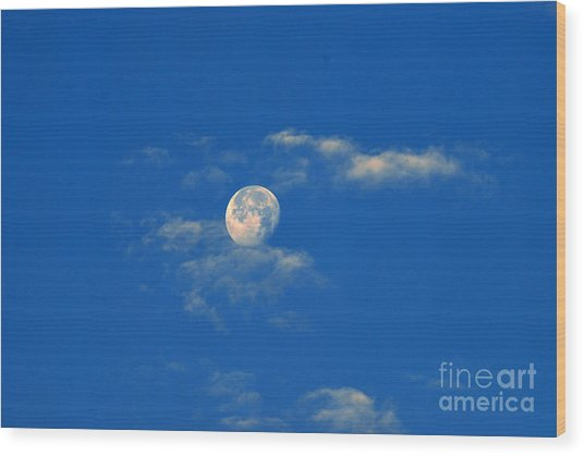 Moon Over Washington Dc Wood Print