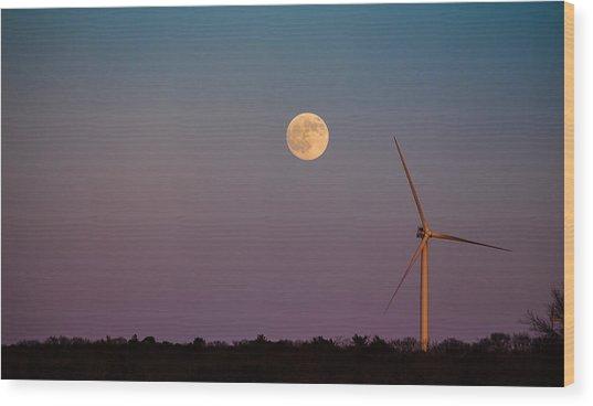 Moon Over Wind Generator Wood Print