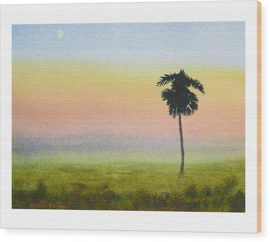 Moon Palm Wood Print