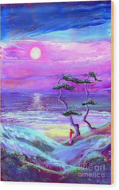 Moon Pathway,seascape Wood Print