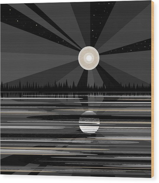 Moon Rise - Black And White Wood Print