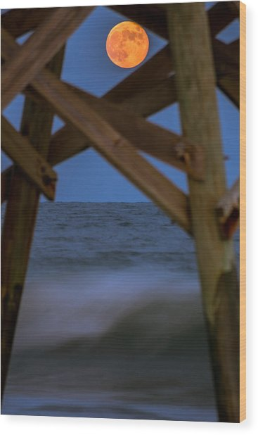 Wood Print featuring the photograph Moon Rise Under Pier by Francis Trudeau