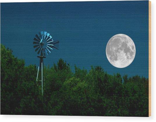 Moon Risen Wood Print