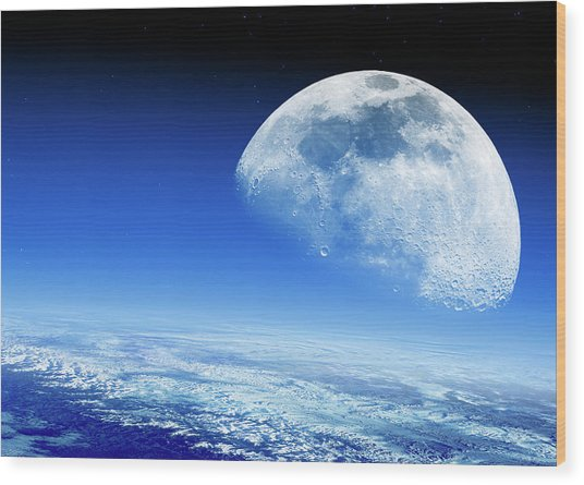 Moon Rising Over Earth's Horizon Wood Print by Detlev Van Ravenswaay