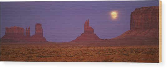 Moon Shining Over Rock Formations Wood Print