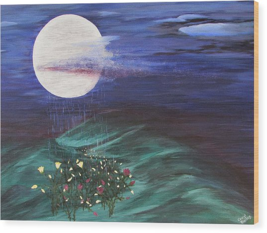 Moon Showers Wood Print