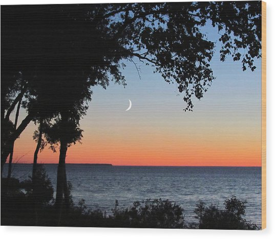 Moon Sliver At Sunset Wood Print