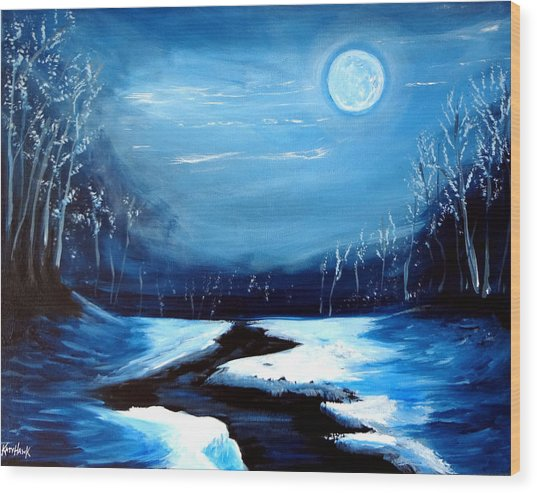 Moon Snow Trees River Winter Wood Print