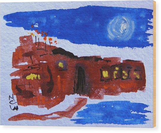 Moon Stars Steel Mill Wood Print by Mary Carol Williams