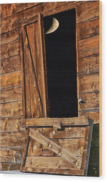 Moon Through The Barn Door Wood Print