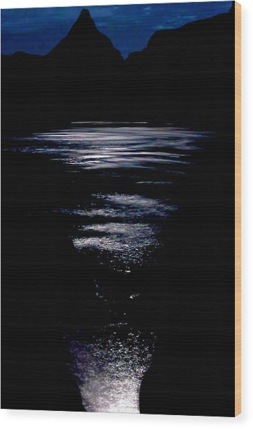 Moon Water Wood Print