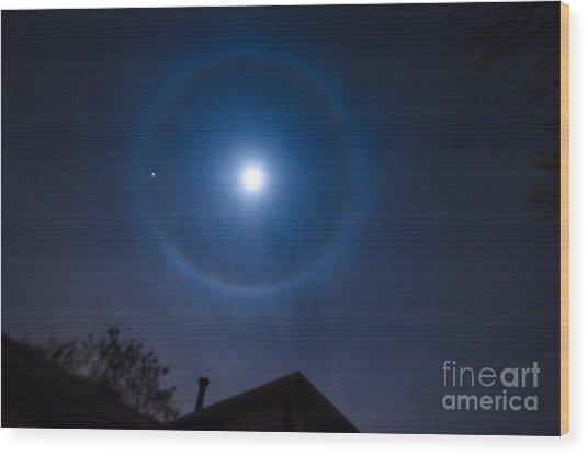 Moonbow Over Chicago 2 Wood Print by Deborah Smolinske