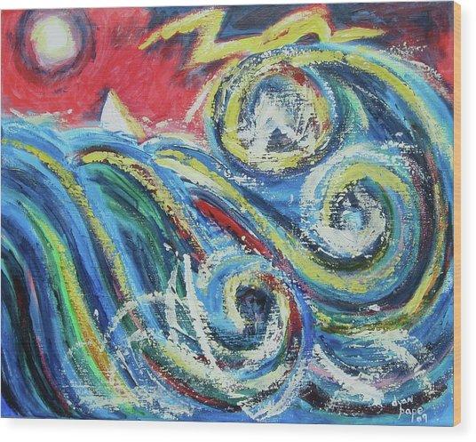 Moonlight And Chaos Wood Print