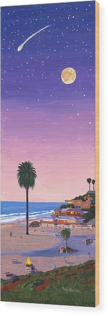 Moonlight Beach At Dusk Wood Print