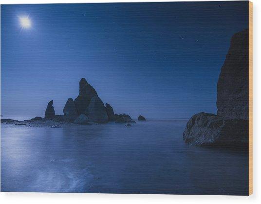 Moonlight Blue Wood Print