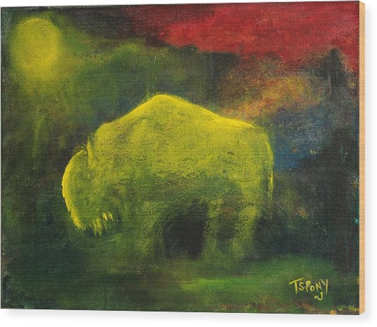 Moonlight Buffalo Wood Print