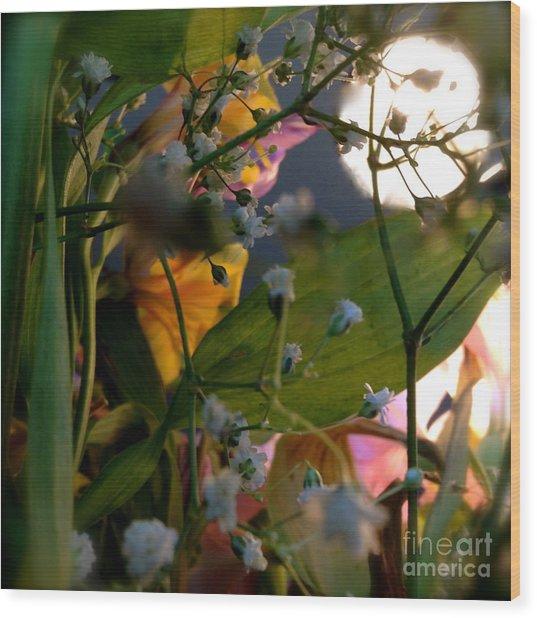 Moonlight Flowers Wood Print