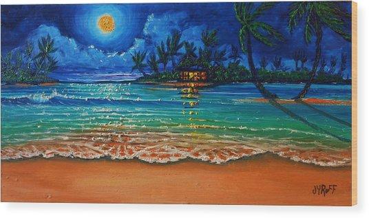 Moonlight Lagoon Wood Print