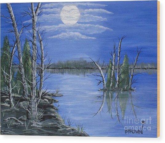 Moonlight Mist Wood Print